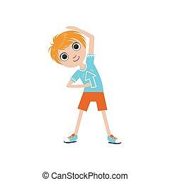 Boy Doing Stretching Exercise