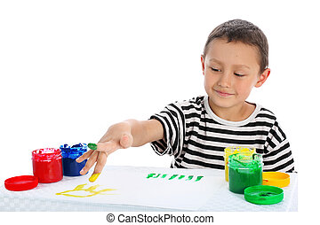 boy draw a picture isolated on white