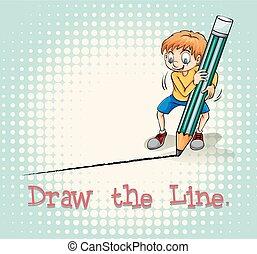 Boy drawing a line