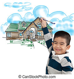 boy drawing the dream house