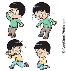 Boy - Vector illustration of boy expression set