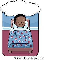 Boy Dreaming - A happy cartoon toddler boy having a dream.