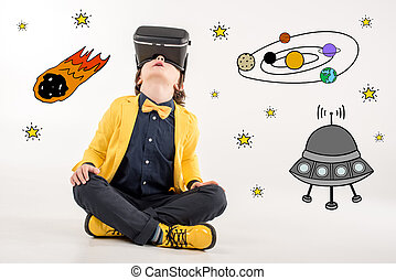 boy dreaming about space traveling