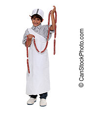 Boy dressed as a butcher