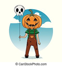 boy dressed as a pumpkin with a balloon of a skull in his hand