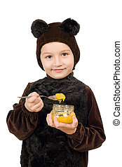 Boy dressed as bear. Isolated