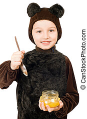 Boy dressed as bear