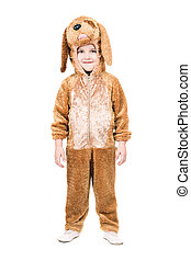 Boy dressed as dog. Isolated