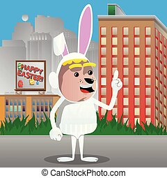 Boy dressed as Easter bunny making a point.