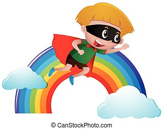 Boy dressed as hero flying over the rainbow