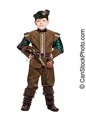 Boy dressed as hunter