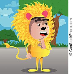 Boy dressed as lion showing ok sign.