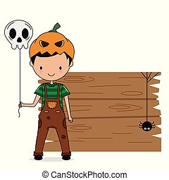 Boy dressed as pumpkin with a skull balloon in his hand