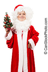 Boy dressed as Santa with a decorative Christmas tree in his han