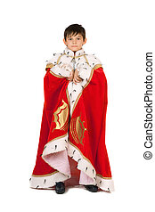 Boy dressed in a robe of King. Isolated on white