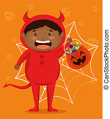 boy dressed up as a little devil vector illustration design