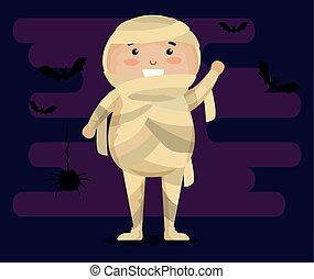 boy dressed up as a mummy vector illustration design