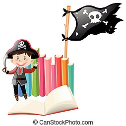 Boy dressed up in pirate costume