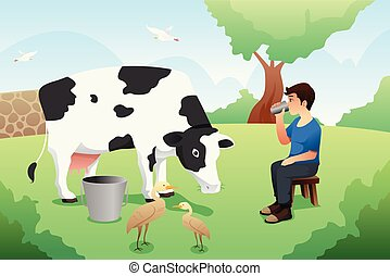 Boy Drinking Milk After Milking a Cow Illustration