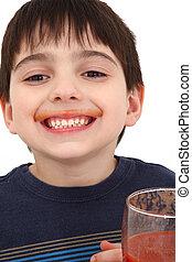 Boy Drinking Tomato Juice