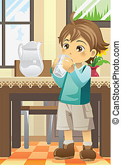 Boy drinking water - A vector illustration of a boy drinking...