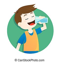 Boy drinking water - Vector illustration of a boy drinking a...