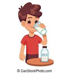 Boy drinks milk. Kid holding and drinking milk in glass. Milk products for healthy children vector concept