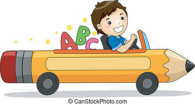 Boy Driving a Pencil Car with ABC - Illustration of a...