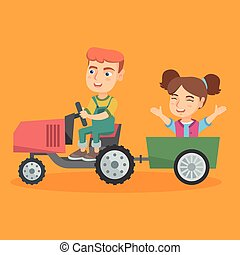 Boy driving a tractor with his friend in trailer.