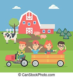 Boy driving a tractor with his friends in trailer.