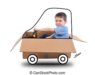 Boy Driving Box Car on White - A young boy is driving a box...
