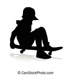 boy driving skateboard vector
