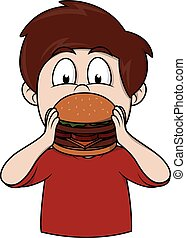 Boy eat burger