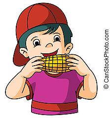 Boy eat corn