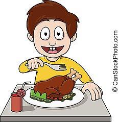 Boy eat roasted chicken cartoon