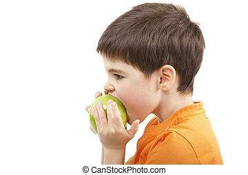 Boy eat the apple