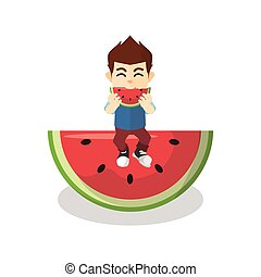 Boy eating big watermelon
