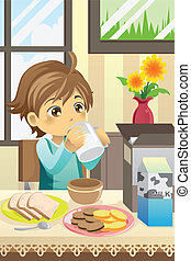 A vector illustration of a boy eating his breakfast at home
