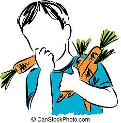 boy eating carrots illustration