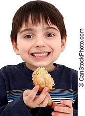 Boy Eating Chicken