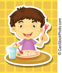 Boy eating - Happy boy eating rice from a plate
