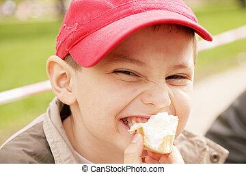 Boy eating ice-cream