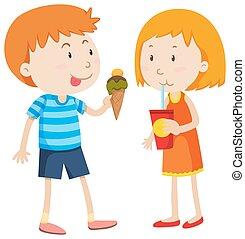 Boy eating icecream and girl drinking