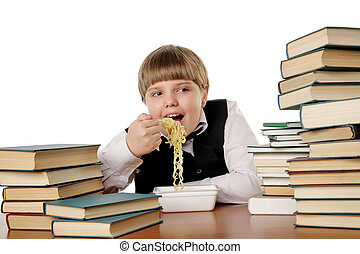 boy eating instant noodles - boy eating chinese instant...