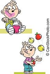 boy eating jam - The illustration shows a boy who eats jam...