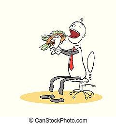 Boy eating junk food. Guilty Pleasure. Gluttony sin - Fat ...