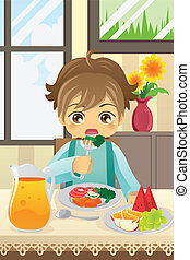 A vector illustration of a boy eating vegetables and fruits