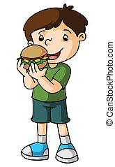 Boy eats burger