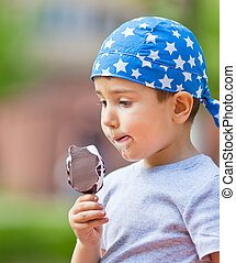 boy eats ice cream