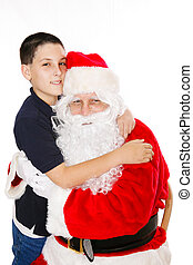 Boy Embracing Santa Claus